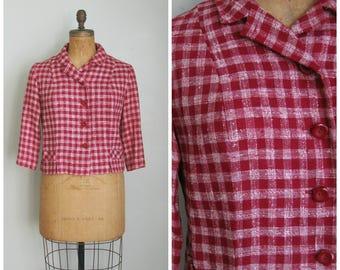 Vintage 1960's Red Plaid Cropped Jacket// Blazer// 3/4 Sleeves