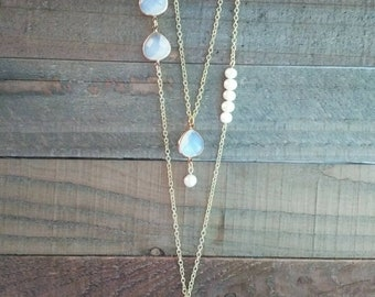 Layered Iridescent And Pearls Necklace