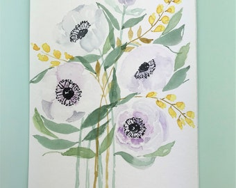 Watercolor Anemones Parmes