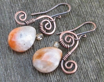 Petite Faceted Calcite Teardrops on Copper Swirls