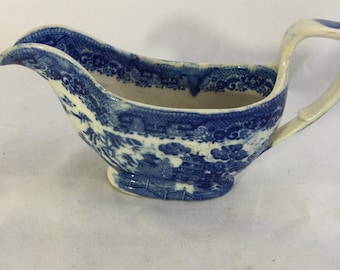 Blue Willow Sauce Boat From The 1800's