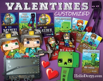 Classroom Valentines for School. Features HelloDerpy & HeyDerp (plus 3 BONUS Minecraft themed Valentines) Customized for you before download