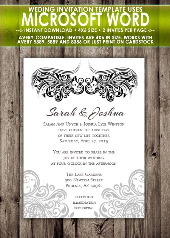 Printable Wedding Invitation Microsoft Word Template 4x6