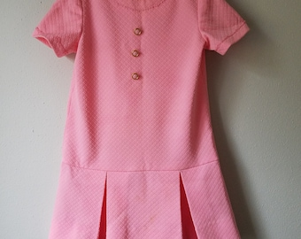 Vintage 60s Girls Pink Polyester Dress with Dropped waist and Gold Buttons- Size  7/8- Gently Worn- Easter Dress- Daphne Costume