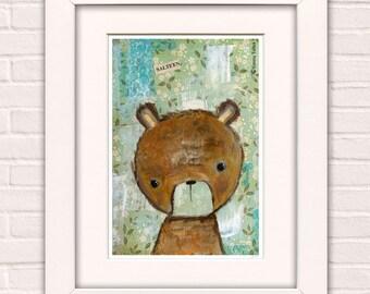 Art for Kids, Mixed Media Painting, Wall Art For Children, Wall Art  For Nursery, Kawaii Art - 'Salteen' by Emma Talbot