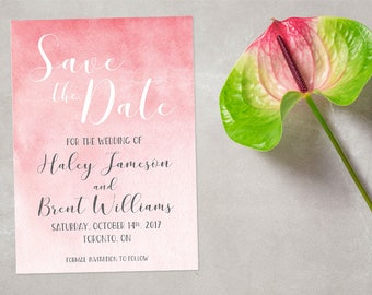 Blush Pink Watercolor Save the Date Card, Custom Save the date Card, Announcement Invite, Printable Wedding Card, DIGITAL FILE 5x7