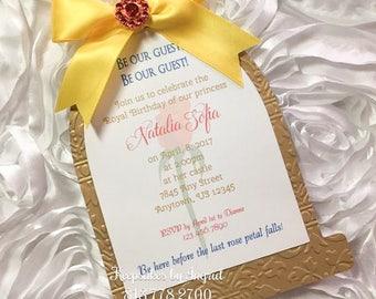 Set of 15 beauty princess rose dome invitations