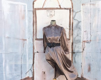 Vintage 1990s Bronze Pleated Dress (SIze Small)