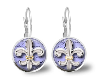 Tile Earrings Fleur de Lis Earrings Tile Jewelry Fleur de Lis Jewelry Beaded Jewelry Silver Earrings Silver Jewelry Brass Earrings