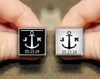 Anchor Cuff Links, Custom Square Initial Cufflinks, Personalized Cufflinks, Custom Sea Anchor CufflinkS, Wedding Cufflinks, Groom Cuff Links