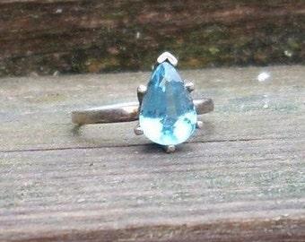 Handmade Tear Drop Faceted Aquamarine Gem Sterling Silver Ring