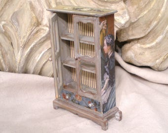 Miniature French Armoire Silver Hutch Blue Grey Distressed Detail Magical Vintage Patina 1 inch scale 1 of Kind FREE Ship in USA