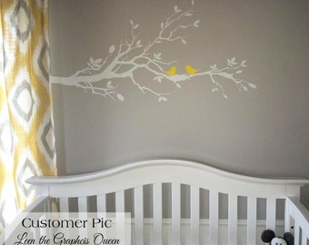 Birds with Nest in Tree Branch Vinyl Wall Decal Perched and Flying Bird Decals for Nursery Kids Room Decorating Tree with Leaves and Nest