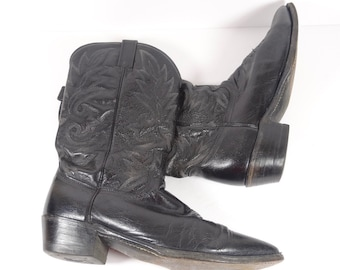 Vintage Dan Post Cowboy Boots Mens 10.5 D Black Leather Western Wear
