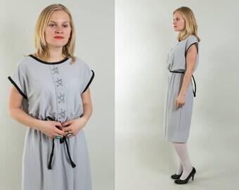 Gray Secretary dress / Everyday dress / Simple summer dress / 1980's vintage