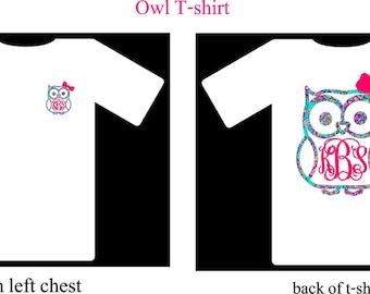 Monogram Shirt, Monogram Owl T-Shirt
