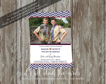 Eagle Scout Court of Honor Invitation-Navy Chevron design-Digital File