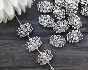 Lotus Beads, Metal Beads, 10/20pcs, Antique Silver, Flower Beads, Yoga Jewelry Supply, Yoga Charm, B109