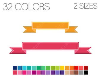 Straight Banners Clip Art Ribbon Banner Digital Clipart Blank Instant
