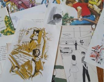 Vintage Children's Book Pages 12 pc*Vintage Paper Pack*Scrapbook Supply*Journal Ephemera*Junk Journal Paper*Paper Ephemera*Old Book Pages*