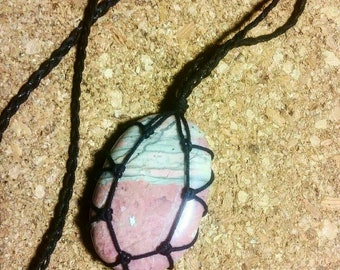 Rhodonite Palmstone Macrame Necklace