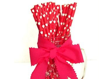 Heart Paper Straws, Wedding Paper Straws, White Hearts on Red Paper Straws, LOVE Paper straws, Party Supplies, Paper Straws