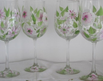 On Sale Wine glasses set of four hand painted with pink and white Daisies, Pansies, wild flowers, great Valentines day gift, Birthday