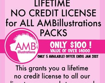 Commercial no credit license for clipart, vector graphics, digital clipart, instant download AMB-NC10