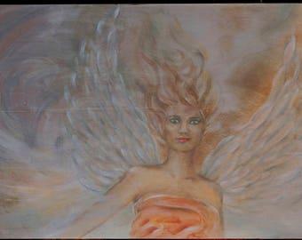 Angel in Clouds. Original Oil Painting