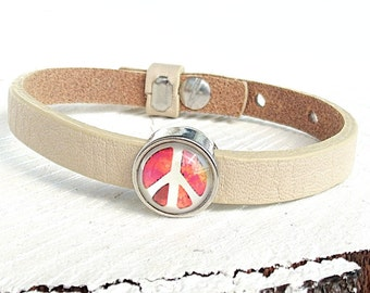Leather Bracelet Peace, Bracelet Italien Leather, Glass Dome