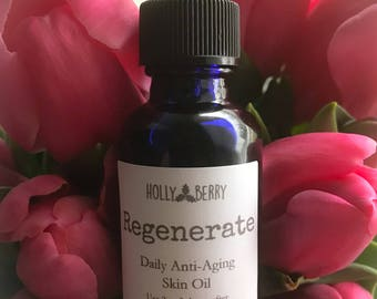 Regenerate - Daily Anti-Aging Facial Oil - Curated Blend of Oils including Sea Buckthorn, Rice Bran, Carrot Seed, Rose Hip Oil