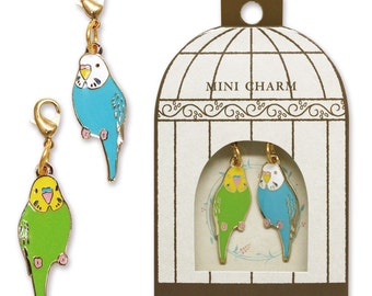Sets of 2 Budgie Budgerigar Parakeet Metal Parts Charm