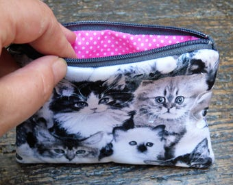 Coin purse kitten cat zipper pouch change purse card holder