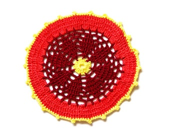 Red , dark red and yellow Crochet Vintage Doily