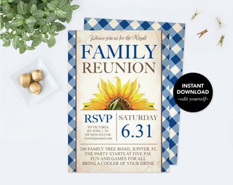 Sunflower Family Reunion Invite, Printable, Editable Invitation, Family Picnic,  Instant Download, Digital Editable, Family BBQ Summer Party