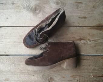 Vintage fur boots lace shoes 60s rubber suede leather 50s winter boots