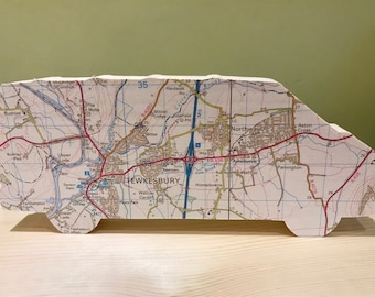VW T4 van, personalised map van, great gift for any camper van lover, map art gift. VW bus, VW camper, camping gift