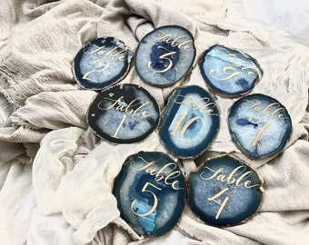 "Agate Slices Wedding Calligraphy Place Card Blue 3""-4""| Escort Cards | Quartz | Gemstone | Natural Stone | Sliced Stone | Coaster"