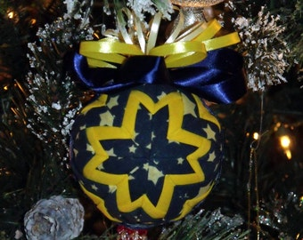 """5"""" Diameter Blue and Yellow Star Quilted Christmas Ball with Hand made Crystal Hook - Home Decor - Holiday Decor - Ornament - Quilted"""