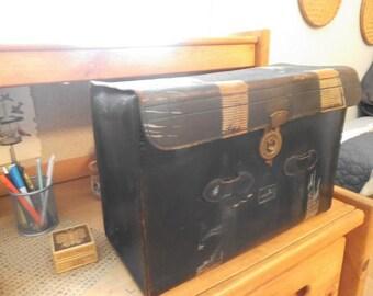 Vintage Rustic Antique German Leather Case ~Large storage Case ~ Steampunk ~ Man Cave