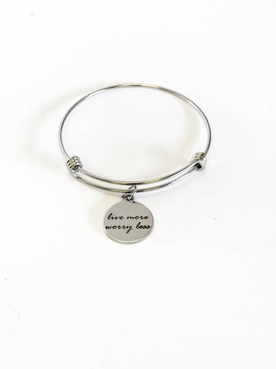 Live More Worry Less Stacking Expanding Bangle Charm Bracelet, Mindfulness Jewelry, Meditation Jewelry, Encouragement Stackable Bracelet