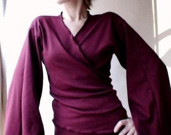 Kimono-style wrap shirt, flare sleeves