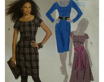 Fitted Dress Pattern, Scoop Neck, Straight Skirt, Flared Skirt, Short/Long Sleeves, Belted, McCalls No. 5466 UNCUT Size 4 6 8 10 12