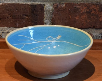 Bird bowl, serving bowl, fruit bowl, Turquoise blue pottery, sgraffito, wheel thrown and hand carved ceramics