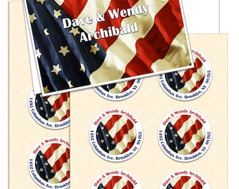Note Card & Address Labels (12 each) ~ Personalized Cards with Address Labels, USA Flag, America, Patriotic Stationery Set
