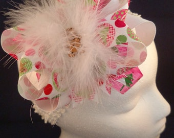 Christmas Pink Gingerbreadman, Santa, Reindeer and Christmas Tree Over-The-Top Hair Bow Hairbow