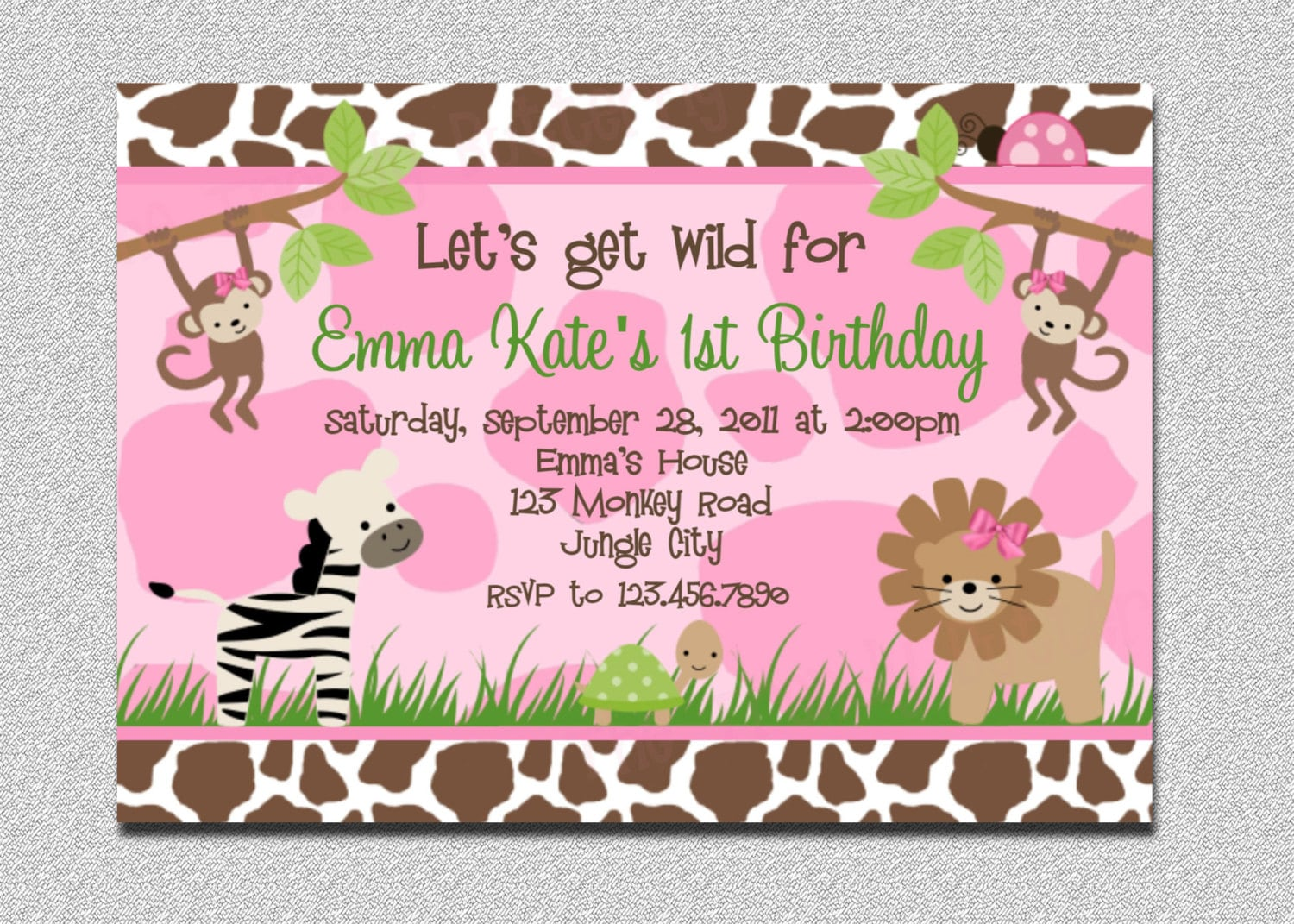 Safari Birthday Invitation Jungle Birthday Invitation Safari