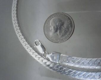 Sterling Silver Herringbone Chain Necklace - 20 in. - 6.50mm Width