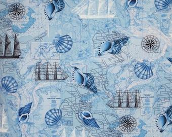 Aqua Blue Navigation Print Pure Cotton Fabric--One Yard