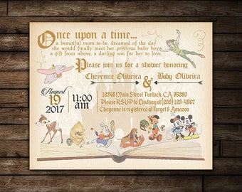 Vintage Storybook Baby Shower | Vintage Disney Baby Shower Invitation | Printable Storybook Baby Shower